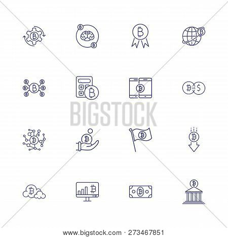 Internet Mining Icon Set. Set Of Line Icons On White Background. Brain, Bitcoin, Bank. Crypto Curren