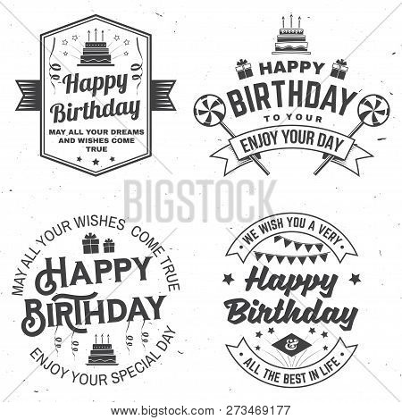 Set Of Happy Birthday Templates For Overlay, Badge, Sticker, Card With Bunch Of Balloons, Gifts, Ser