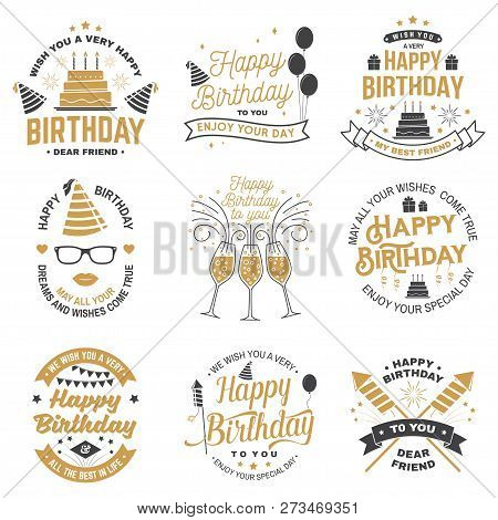 Set Of Happy Birthday Templates For Overlay, Badge, Sticker, Card With Bunch Of Balloons, Gifts, Fir
