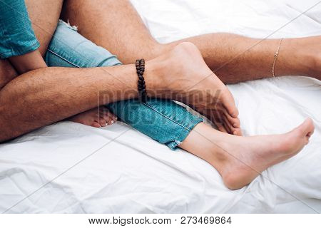 Couple Is Lying On Bed. In Love. Couple In Bed. Passionate Couple Kissing. Having Sex. People In Lov