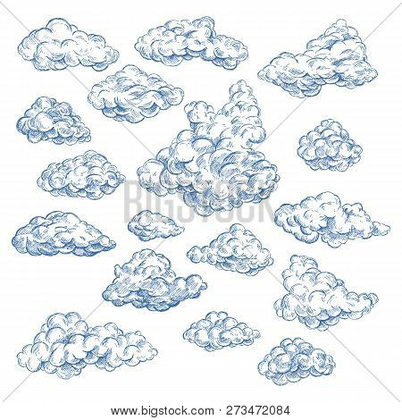 Sky Sketch With Isolated Cumulus White Clouds. Spring Air Or Summer Heaven. Fluffy Vapor At Cloudsca