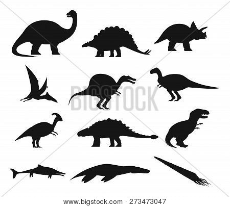 Set Of Isolated Ancient Dinosaurs Outline. Contour With Prehistoric Dino, Underwater Basilosaurus An