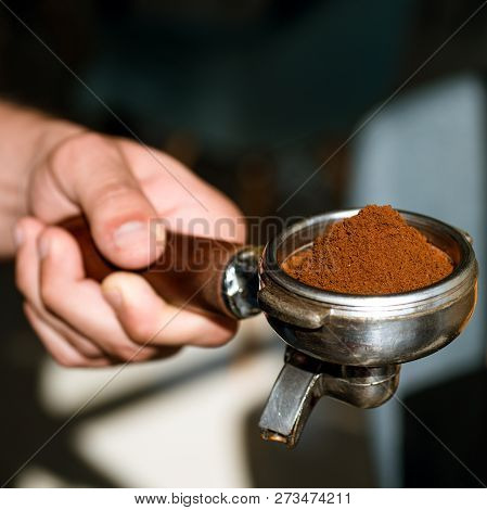 Aroma To Kick Start And Energise Your Day. Barista Brews Espresso Coffee In Cafe. Coffee Making In C