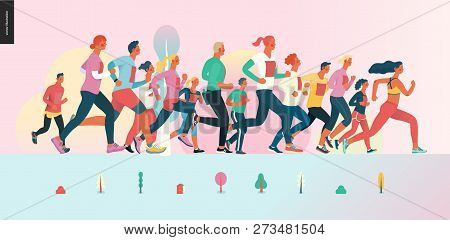 Marathon Race Group - Flat Modern Vector Concept Illustration Of Running Men And Women Wearing Winte