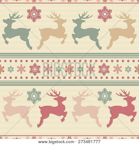 Cute Seamless Backgrounds With Holiday Symbols:deer, Snowflakes, Patterns. Xmas Decoration For Holid