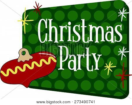 Christmas Party Invitation Graphic , In A Vintage Retro 1950s Or 1960s Style. Traditional Colors Of