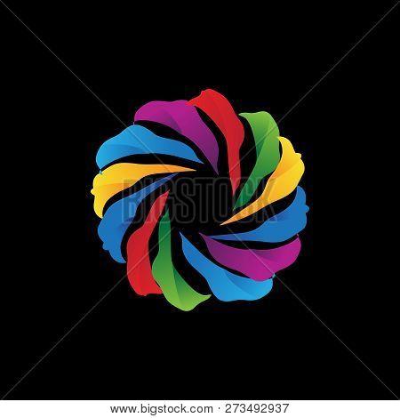 Abstract Swirl Full Color Logo. Color Swirl Logo Corporate Identity Design Element. Color Circle Seg