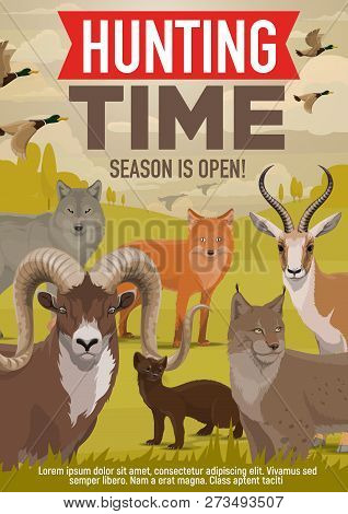 Hunting Open Season And Hunter Hunt Adventure Poster. Vector Wild Forest Animals And Birds, Wolf Or