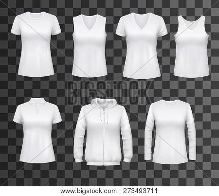 Women T-shirts, Sport Tank Tops Or Hoodies And Casual Polo Shirts. Vector White Womenswear Apparel M