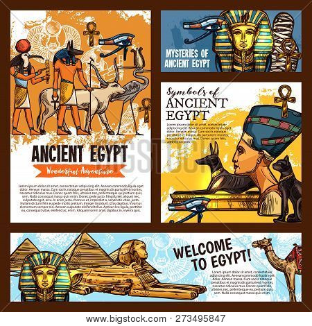 Welcome To Egypt, Ancient Egyptian Culture Landmarks Tours And Historic Adventure Travel. Vector Ske