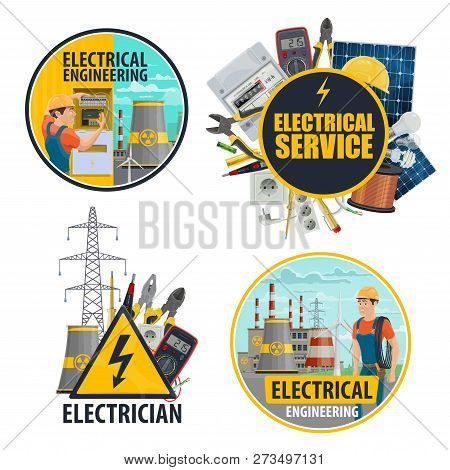 Electricity And Energy Power Service Or Electrical Equipment. Vector Electrician, Light Bulb And Vol