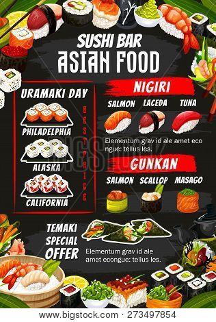 Sushi Bar Menu Of Sushi Rolls, Sashimi And Maki. Vector Japanese Alaska, Philadelphia And California