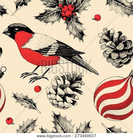 Vector Seamless Pattern With Finches And Holly
