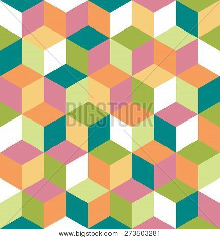 Seamless Pattern Of Colored Cubes. Endless Multicolored Cubic Background. Cubical Background. Abstra