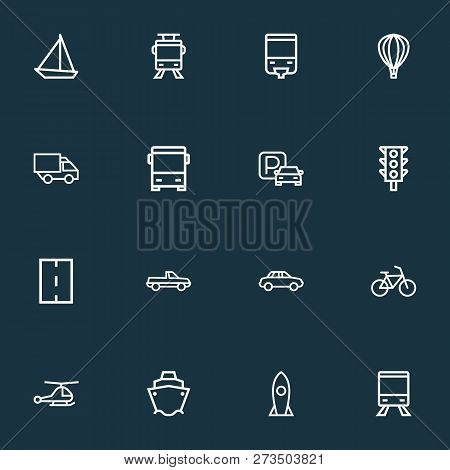 Transportation Icons Line Style Set With Cabriolet, Tanker, Monorail And Other Streetcar Elements. I