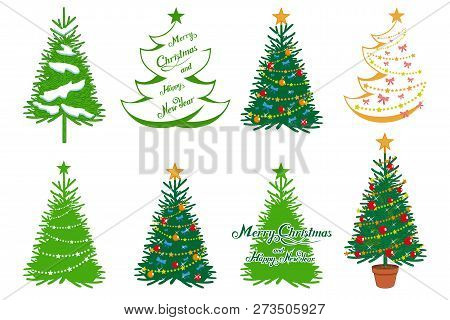Christmas Tree Isolated On White Background. New Year's Holiday. Christmas Fir-tree. Winter Characte