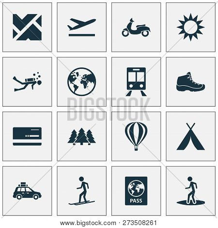 Journey Icons Set With Surfer, Train, Tent And Other Pickup Elements. Isolated  Illustration Journey