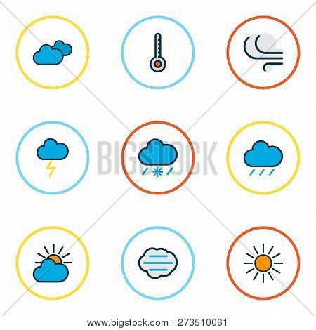 Climate Icons Colored Line Set With Frosty, Tempest, Sunlight And Other Windy Elements. Isolated Vec