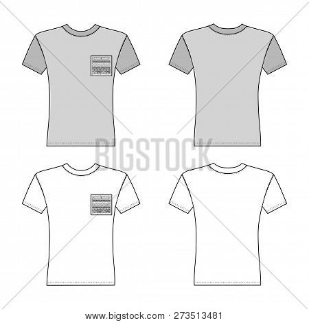 T Shirt Man Template (front, Back Views), Vector Illustration Isolated On White Background