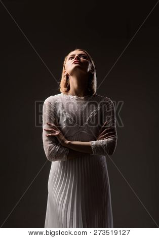Elegant Dress Concept. Silhouette Of Retro Blonde Lady In Fashionable White Dress. Beauty, Fashion.