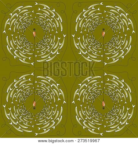 Vector Pattern Of Fishing Bait With Fishes In The Sea. Multicolor Illustration Whit Flock Of Fish In