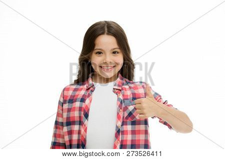 Girl Smiling Face Feels Confident. Child Confidently Showing Thumbs Up. Upbringing Confidence Concep