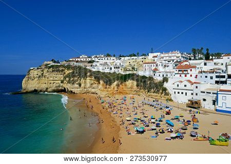 Algarve, Portugal - August 23, 2018: View To Carvoeiro Beach, Algarve, Portugal.