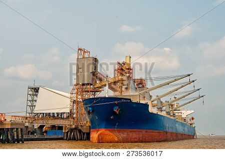 Cargo Ship. Logistics And Transportation Of International Container Cargo Ship In The Ocean At Dock