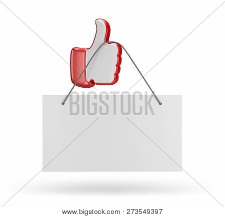 Announcement On The Hand With A Raised Finger To The Top. 3d Image. White Background.