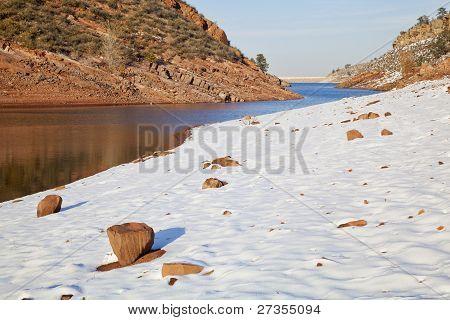 Colorado Lake In Winter Scenery