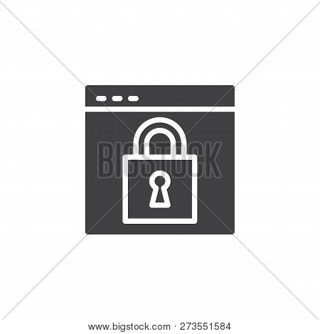 Website Protection Vector Icon. Filled Flat Sign For Mobile Concept And Web Design. Lock Webpage Sim