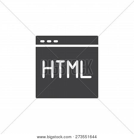 Webpage Html Code Vector Icon. Filled Flat Sign For Mobile Concept And Web Design. Programming And C