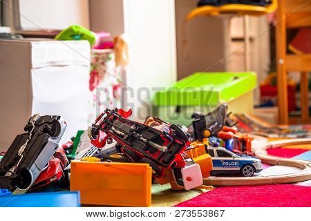Chaos In The Colorful Childrens Room - Toy Cars.