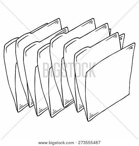 Set Folder Document Symbol. Vector Folder File. Hand Drawn Folder Icon.