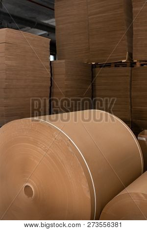 Paper Production Producing Packaging Paper And Cardboard From Waste Paper. Roll Of Paper For Corruga