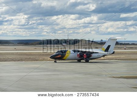 Punta Arenas, Chile - Oct 7, 2018: Antarctic Airways Passenger Airplane With Penguin Livery At The P