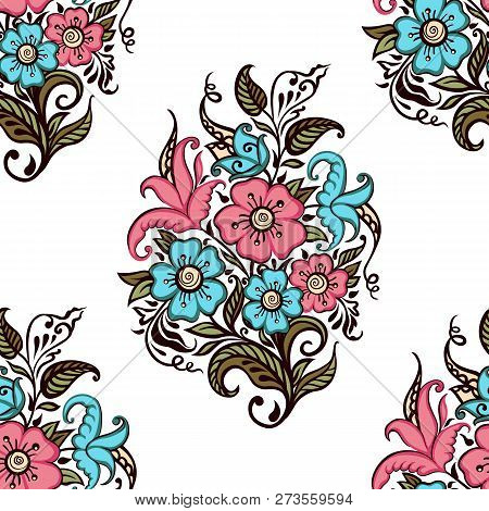 Bouquet Of Flowers. Seamless Pattern Of Bouquet Of Decorative Flowers On A White Background