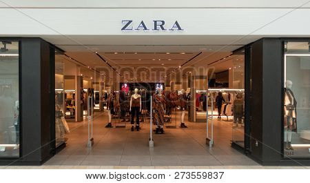 Scottsdale, Az/USA -12.7.18 Zara is a Spanish fashion retailer, founded in1975.  It is the main brand of the Inditex group, the world's  largest apparel retailer.