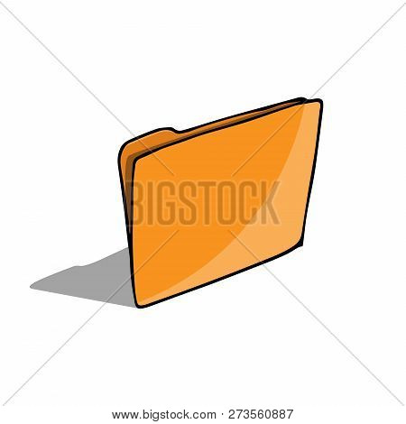 Folder Document Symbol. Vector Folder File. Hand Drawn Folder Icon.