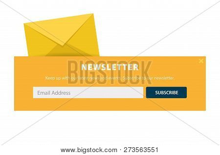 Email Subscribe, Online Newsletter, Submit Button. Envelope And Subscribe Button. Ui Ux Design. Vect
