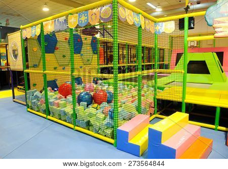 Modern Children Playground Indoor With Lot Of Colorful Toys And Obstacles