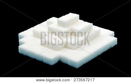Pile Of Sugar Cubes, Isolated On Black