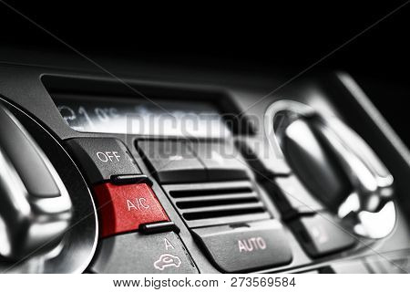 Air Conditioning Button Inside A Car. Climate Control Ac Unit In The New Car. Modern Car Interior De