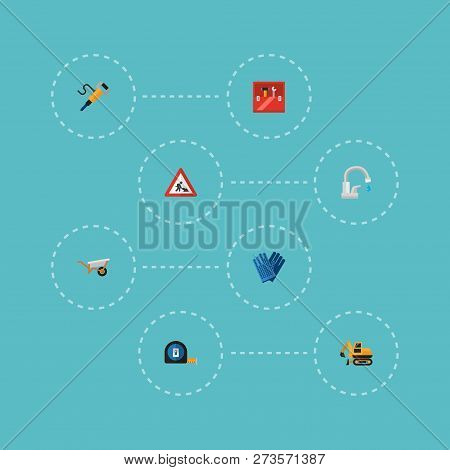 Set of industry icons flat style symbols with workman sign, crawler excavator, tape measure and other icons for your web mobile app logo design. poster