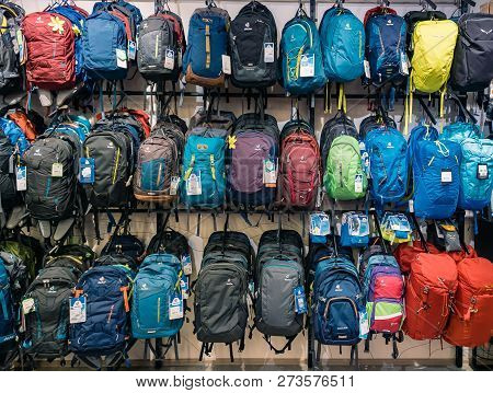 Moscow, Russia - September 6, 2018: Shop Window With Various Backpacks. Hiking Sports Travel Tourist