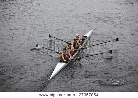Georgetown University Mens Fours races in the Head of Charles Regatta