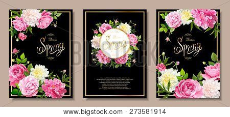 Set Of Three Floral Backgrounds With Blooming Flowers Of Pink And Light Yellow Peonies, Lovely Roses
