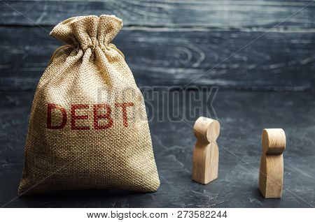 Two Businessmen Discussing Debt In A Company. Financial Debt Concept. Company Secured And Unsecured