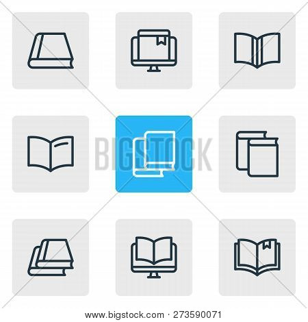 Vector Illustration Of 9 Education Icons Line Style. Editable Set Of Online Bookmark, Ebook, Informa