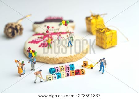 Merry Christmas Family Party With Presents And Cookies. Hollidays Background.